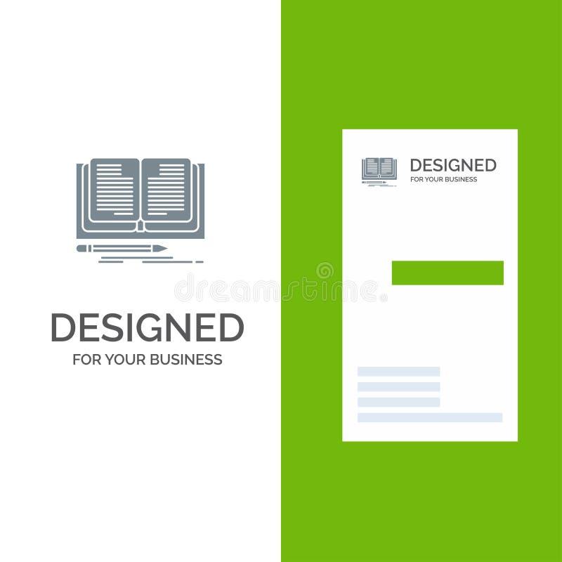 Schreiben, Roman, Buch, Geschichte Grey Logo Design und Visitenkarte-Schablone stock abbildung