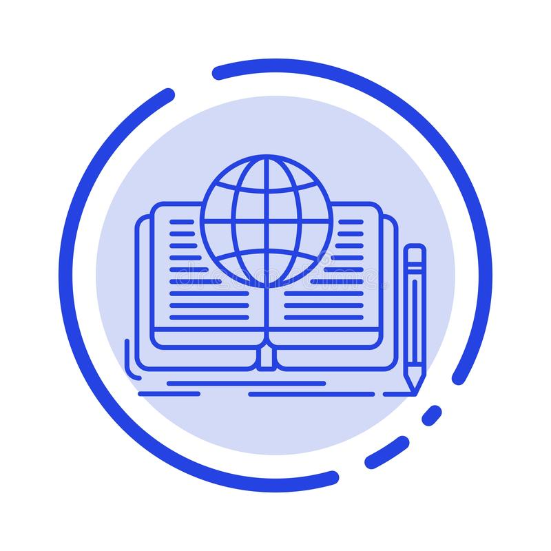 Schreiben, Roman, Buch, Geschichte, Linie Ikone der Theorie-blauen punktierten Linie vektor abbildung