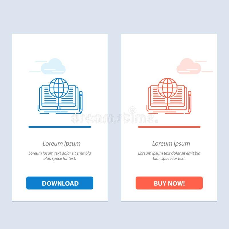 Schreiben, Roman, Buch, Geschichte, Theorie-Blau und rotes Download und Netz Widget-Karten-Schablone jetzt kaufen lizenzfreie abbildung