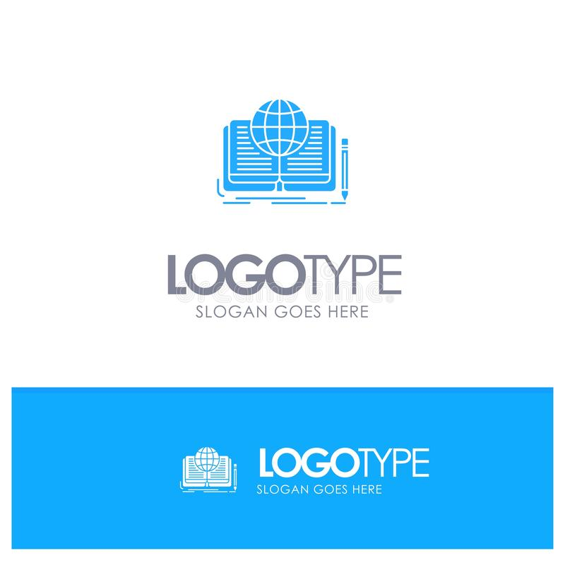 Schreiben, Roman, Buch, Geschichte, Theorie-blaues festes Logo mit Platz für Tagline lizenzfreie abbildung
