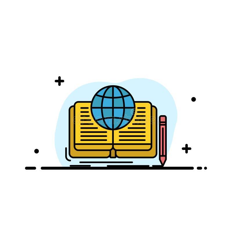 Schreiben, Roman, Buch, Geschichte, Theorie-Geschäfts-flache Linie füllte Ikonen-Vektor-Fahnen-Schablone vektor abbildung