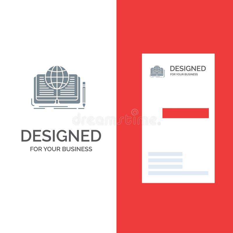 Schreiben, Roman, Buch, Geschichte, Theorie Grey Logo Design und Visitenkarte-Schablone stock abbildung