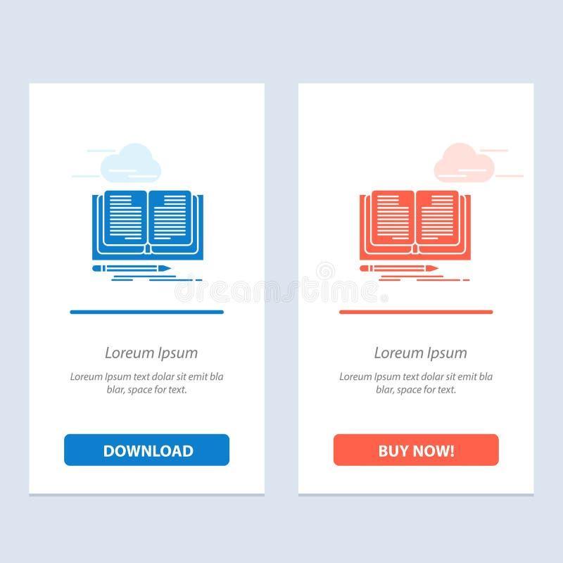 Schreiben, Roman, Buch, Geschichten-Blau und rotes Download und Netz Widget-Karten-Schablone jetzt kaufen lizenzfreie abbildung