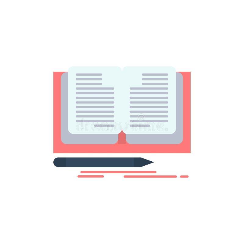 Schreiben, Roman, Buch, Geschichten-flache Farbikone Vektorikonen-Fahne Schablone stock abbildung