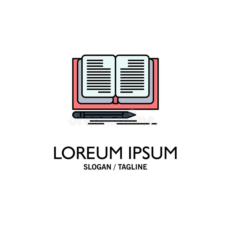 Schreiben, Roman, Buch, Geschichten-Geschäft Logo Template flache Farbe lizenzfreie abbildung