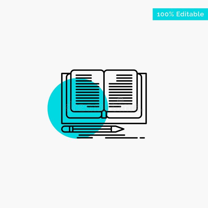 Schreiben, Roman, Buch, Geschichtentürkishöhepunktkreispunkt Vektorikone stock abbildung