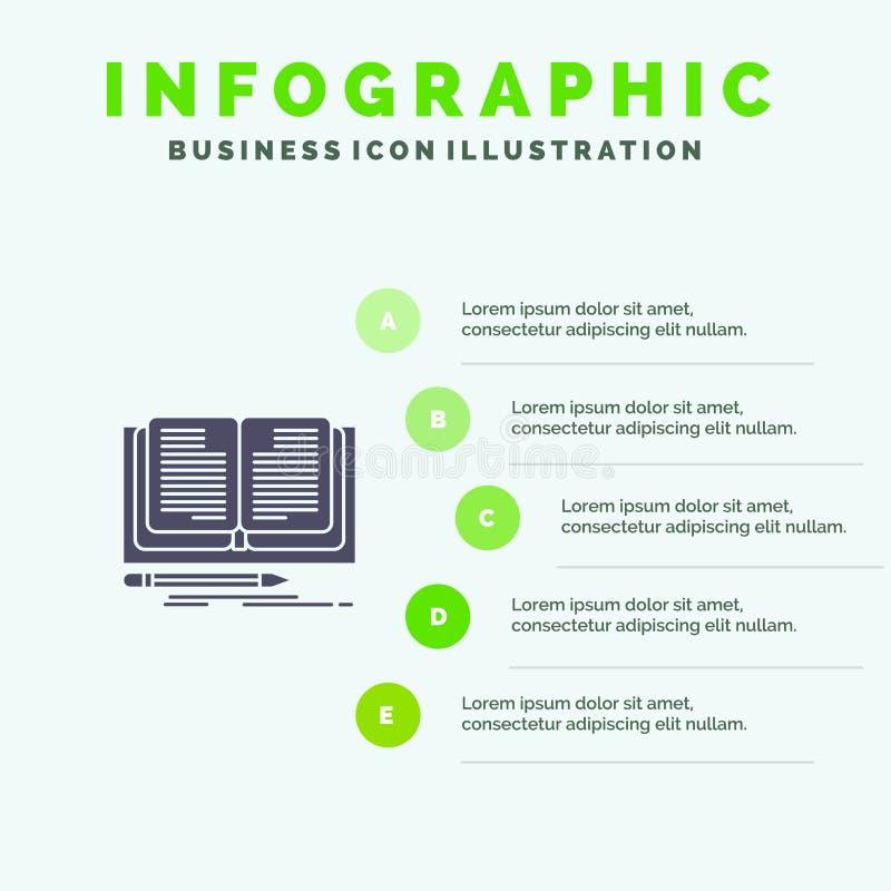 Schreiben, Roman, Buch, Schritt-Darstellungs-Hintergrund Geschichten-fester Ikone Infographics 5 stock abbildung