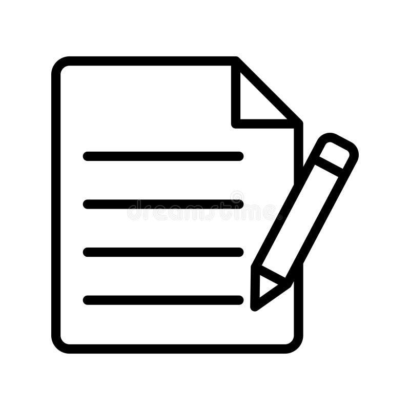 Schreiben Sie dünne Linie Vektorikone vektor abbildung