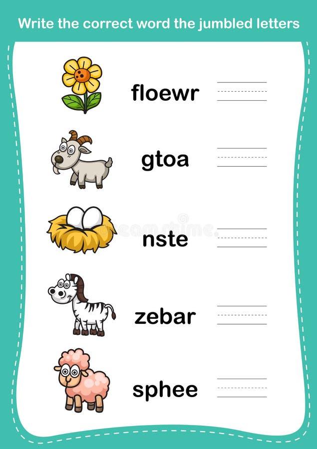 Schreiben Sie dem korrekten Wort die durcheinandergebrachten Briefe stock abbildung