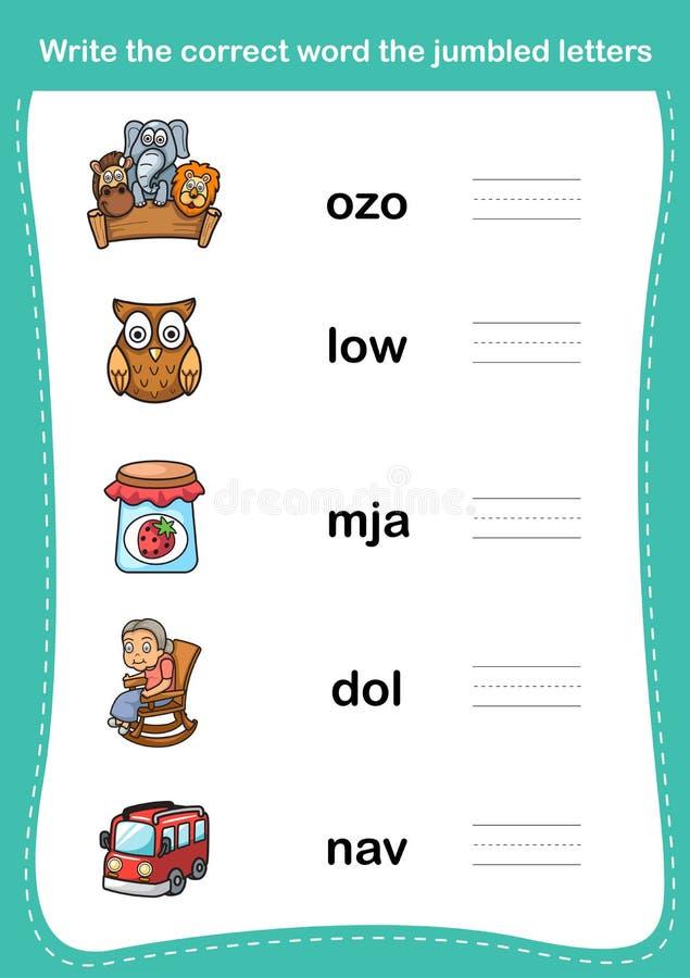 Schreiben Sie dem korrekten Wort die durcheinandergebrachten Briefe lizenzfreie abbildung