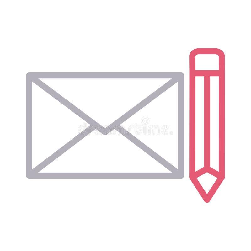 Schreiben Sie E-Mail dünne Farblinievektorikone lizenzfreie abbildung