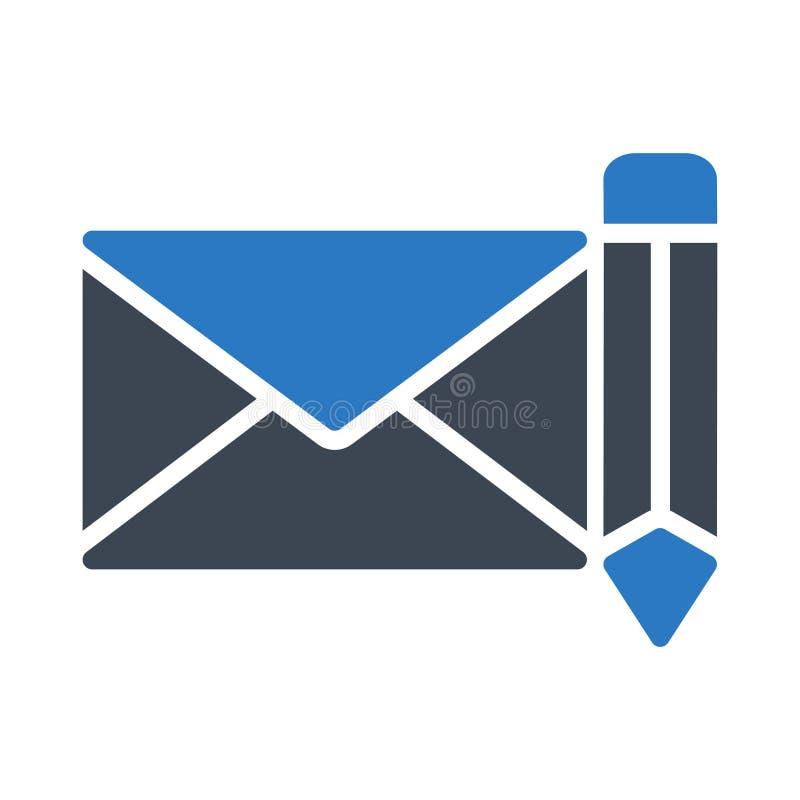 Schreiben Sie E-Mailglyphfarbvektorikone stock abbildung
