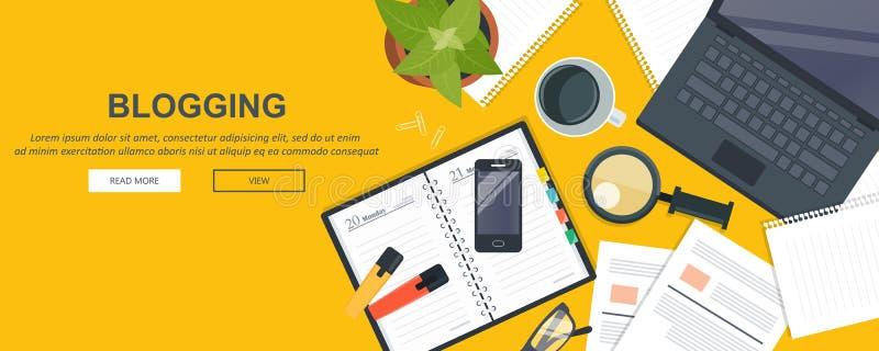 Schreiben Sie Ihre Geschichtengeschäftsfahne für Journalismus und das Bloggen flach vektor abbildung