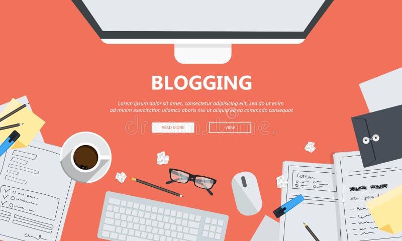 Schreiben Sie Ihre Geschichtengeschäftsfahne für Journalismus und das Bloggen Flacher Vektor lizenzfreie abbildung