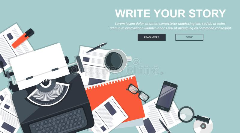 Schreiben Sie Ihre Geschichtengeschäftsfahne für Journalismus und das Bloggen Flacher Vektor stock abbildung