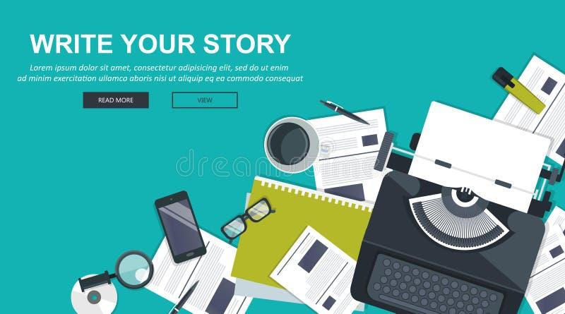 Schreiben Sie Ihre Geschichtengeschäftsfahne für Journalismus und das Bloggen Flacher Vektor vektor abbildung