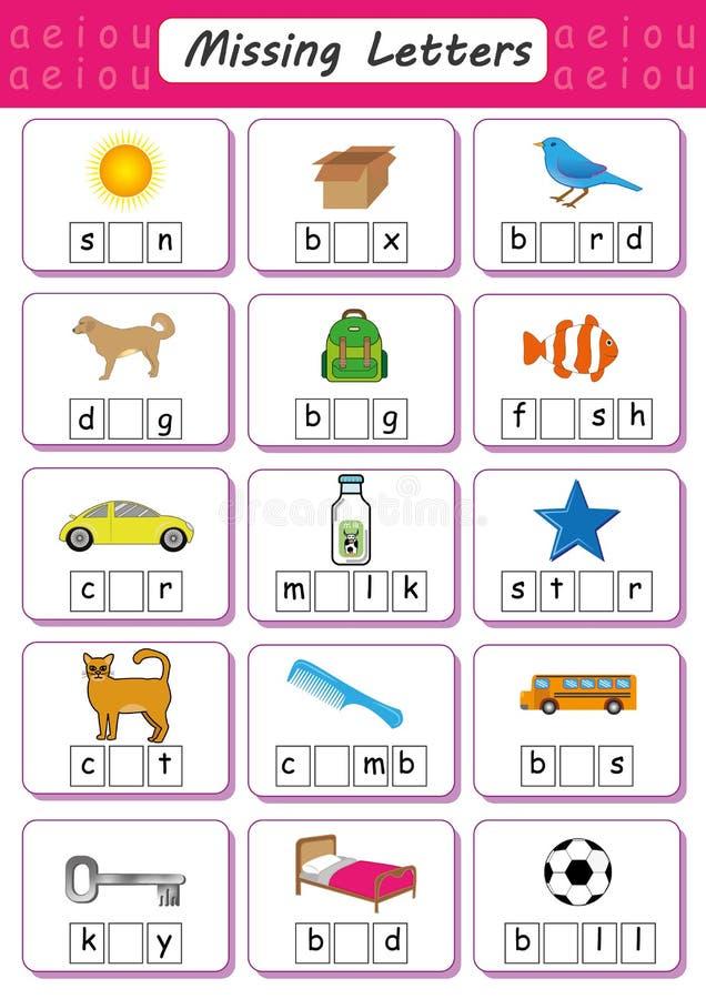 Schreiben Sie Verfehlungsbrief, schreiben Sie den fehlenden Vokal, Arbeitsblatt für Kinder, füllen Sie den kurzen Vokal aus vektor abbildung