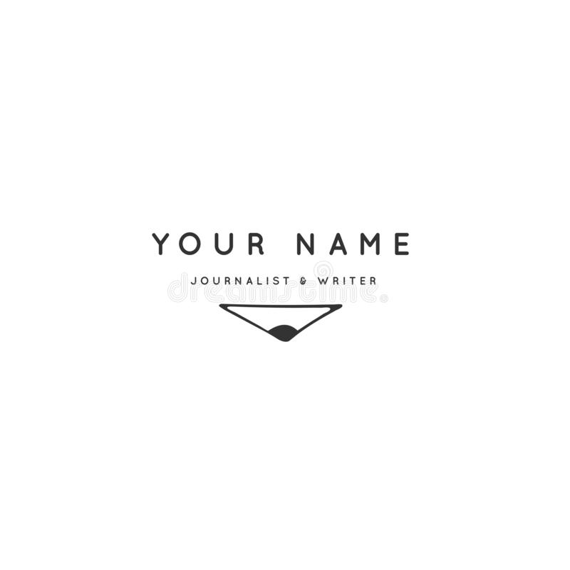 Schreiben, Veröffentlichen und Copyrightthema Handgezogene Vektor-Logoschablone mit einer Bleistiftspitze stock abbildung