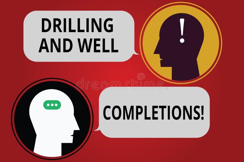 Schreiben von Anmerkungsvertretung Bohrung und von wohlen Fertigstellungen ÖL- und Gasmineralölindustrietechnik des Geschäftsfoto lizenzfreie abbildung