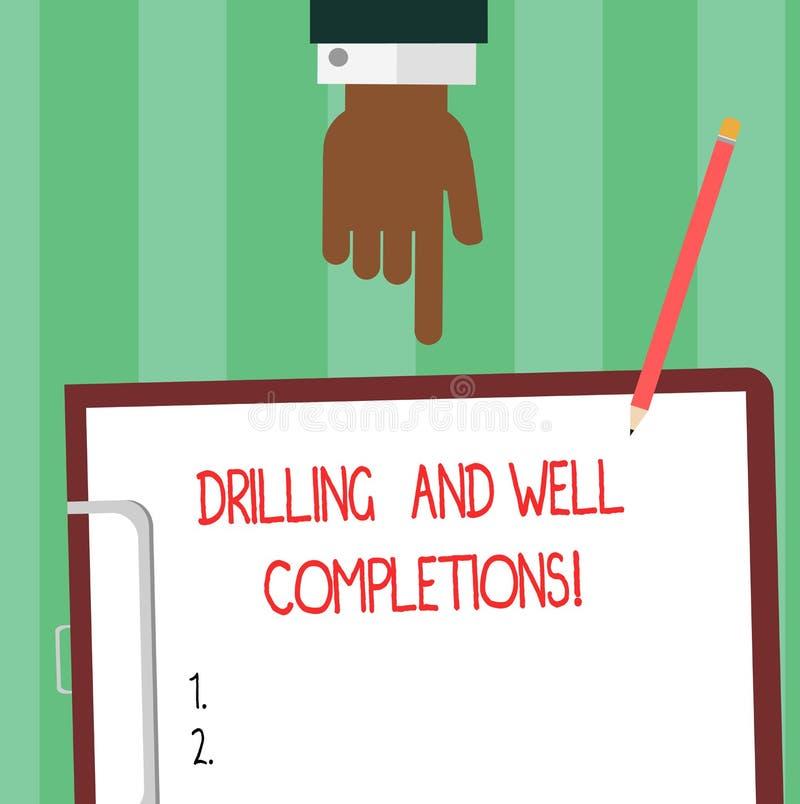 Schreiben von Anmerkungsvertretung Bohrung und von wohlen Fertigstellungen Präsentationsöl- und Gasmineralölindustrie des Geschäf stock abbildung