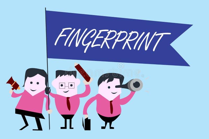 Schreiben von Anmerkungsvertretung Fingerabdruck Präsentationseindruck oder Kennzeichen des Geschäftsfotos machten auf einer Ober lizenzfreie abbildung