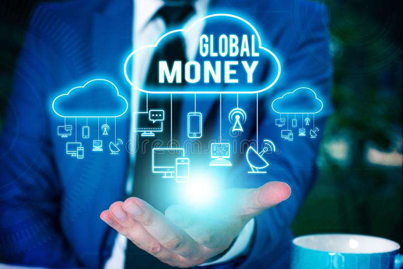 Schreiben von Global Money Geschäftsfoto zeigt internationale Finanzwährung Weltwährung weltweit lizenzfreie stockbilder