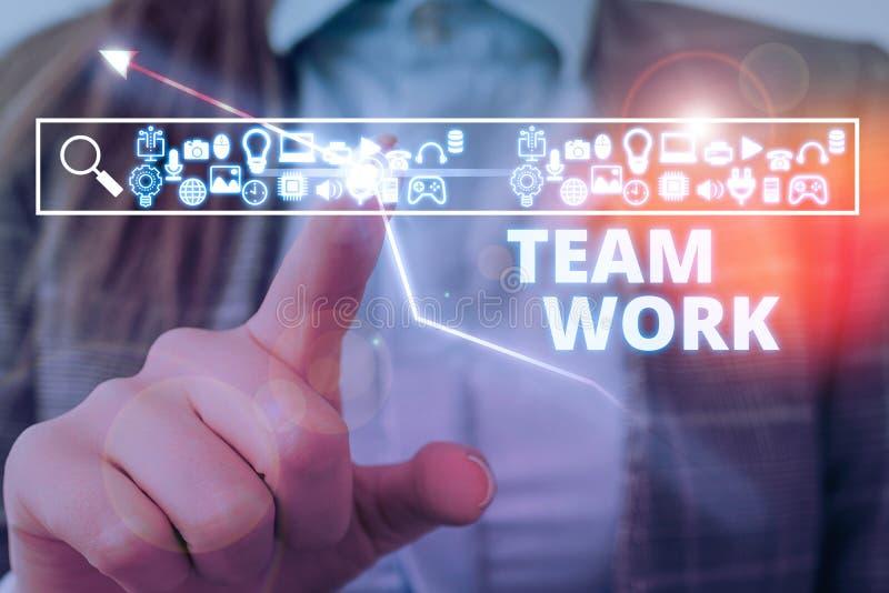 Schreiben von Handschrift in Team Work Konzept bedeutet Kombinierte Aktion einer Gruppenarbeitsgruppe Zusammenarbeit lizenzfreie stockfotografie