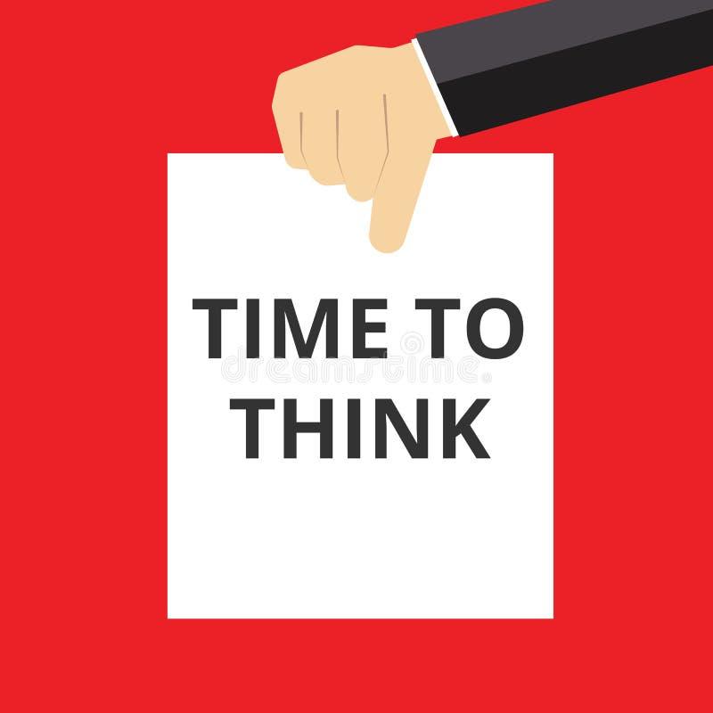 Schreibende darstellende Begriffszeit zu denken lizenzfreie abbildung