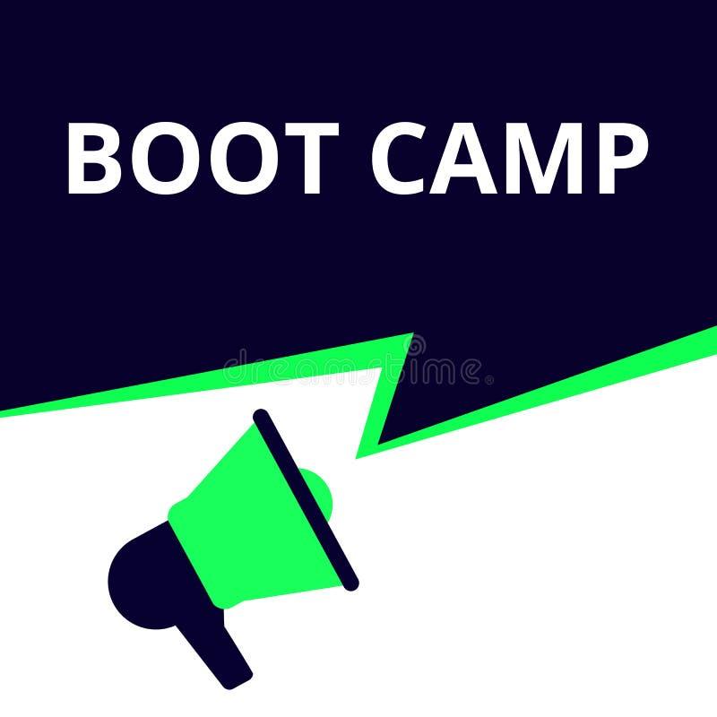 Schreibendes darstellendes BegriffsBoot Camp vektor abbildung