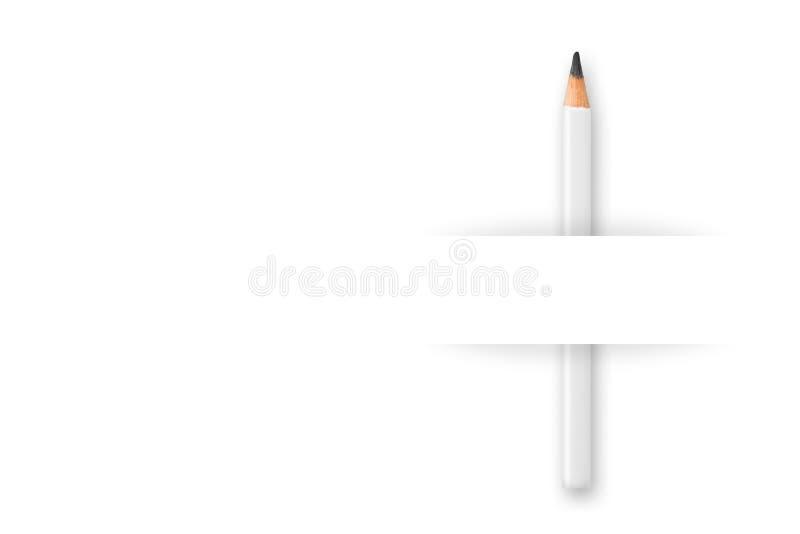 Schreibens-, Ausbildungs- oder Geschäftszusammenfassung Creativ oder Marketing-Schablone, weißer Bleistift hinter Blatt Papier au lizenzfreies stockfoto