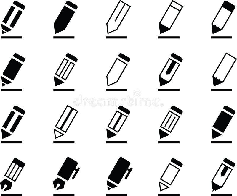 Schreibens-Bleistift und Pen Icons lizenzfreies stockbild