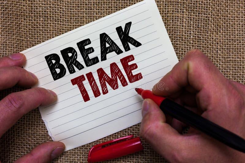 Schreibensanmerkung, die Abschaltzeit zeigt Geschäftsfoto Präsentationszeitraum des Restes oder der Erholung nach dem Handeln der lizenzfreies stockbild