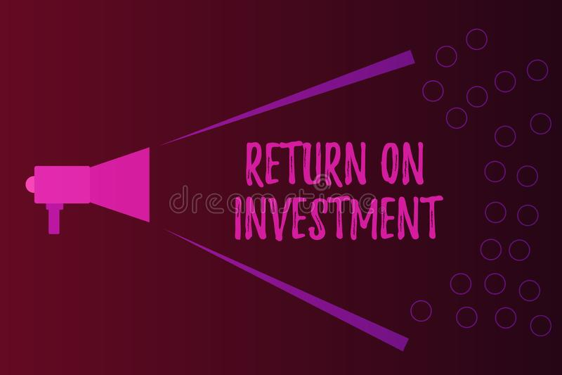 Schreibensanmerkung, die Anlagenrendite zeigt Geschäftsfoto Präsentationsverhältnis zwischen dem Reingewinn und den Kosten invest vektor abbildung
