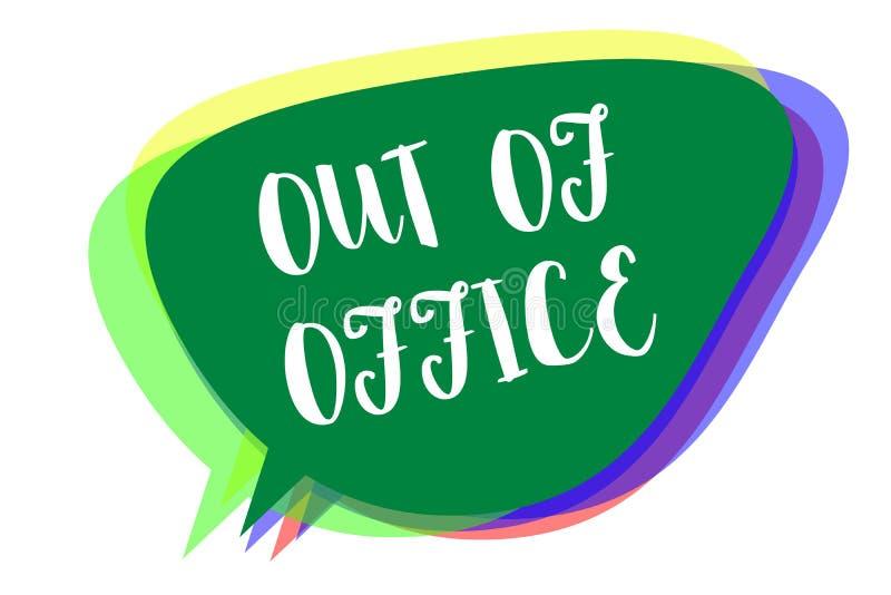 Schreibensanmerkung, die aus Büro heraus darstellt Das Geschäftsfoto, das außerhalb des Jobs niemand in der Geschäft Bruch-Freize vektor abbildung