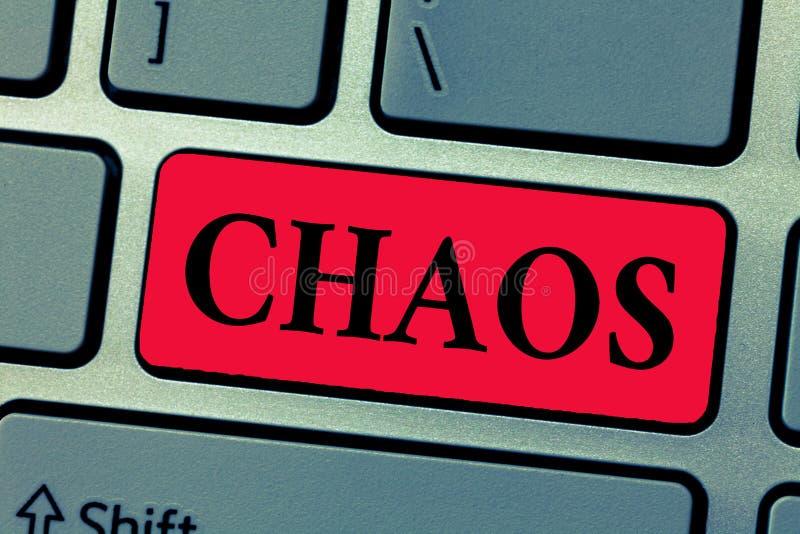 Schreibensanmerkung, die Chaos zeigt Geschäftsfoto, das weit verbreitete Zerstörung der kompletten Störung und der großen Verwirr stockfoto
