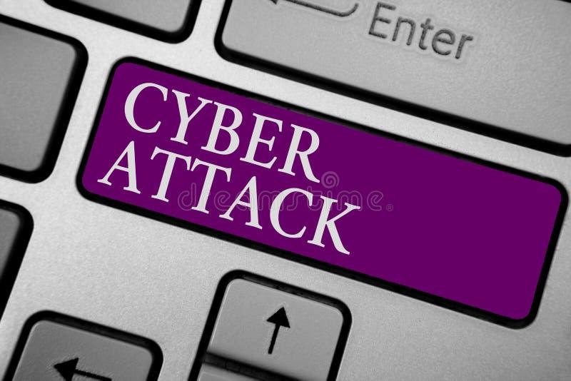 Schreibensanmerkung, die Cyber-Angriff zeigt Das Geschäftsfoto, das einen Versuch durch Häcker zur Schau stellt zu beschädigen, z lizenzfreie stockfotos