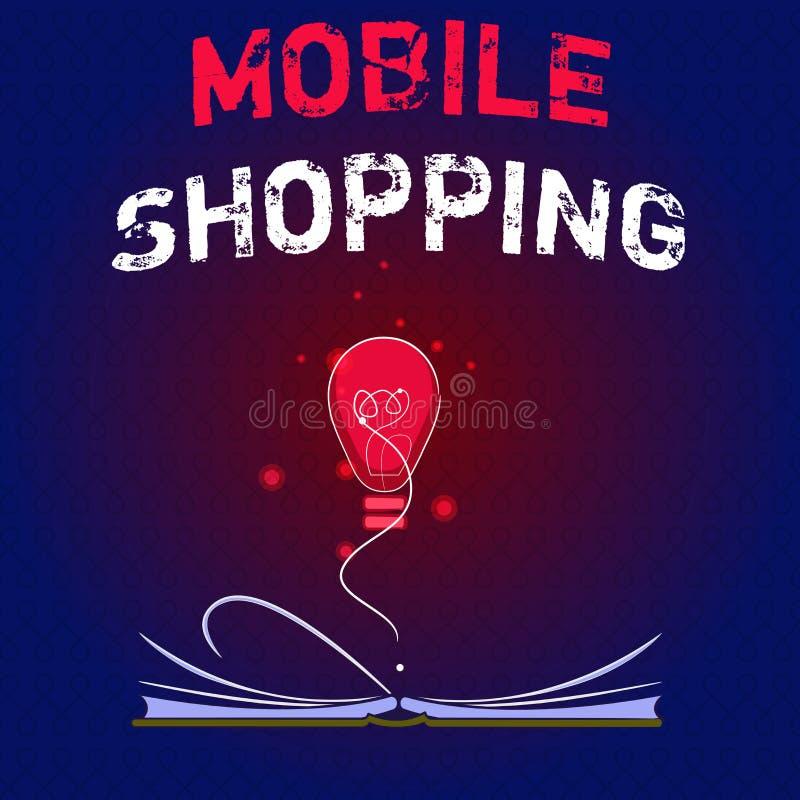 Schreibensanmerkung, die das bewegliche Einkaufen zeigt Geschäftsfoto Präsentationsc$kaufen und Verkauf von Waren und von Dienstl lizenzfreie abbildung