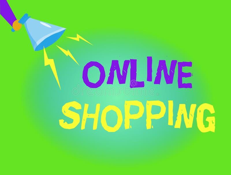 Schreibensanmerkung, die das on-line-Einkaufen zeigt Die Geschäftsfotopräsentation erlaubt Verbrauchern, ihre Waren über dem Inte stock abbildung