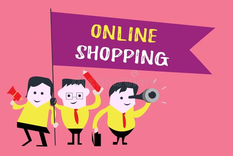 Schreibensanmerkung, die das on-line-Einkaufen zeigt Die Geschäftsfotopräsentation erlaubt Verbrauchern, ihre Waren über dem Inte lizenzfreie abbildung