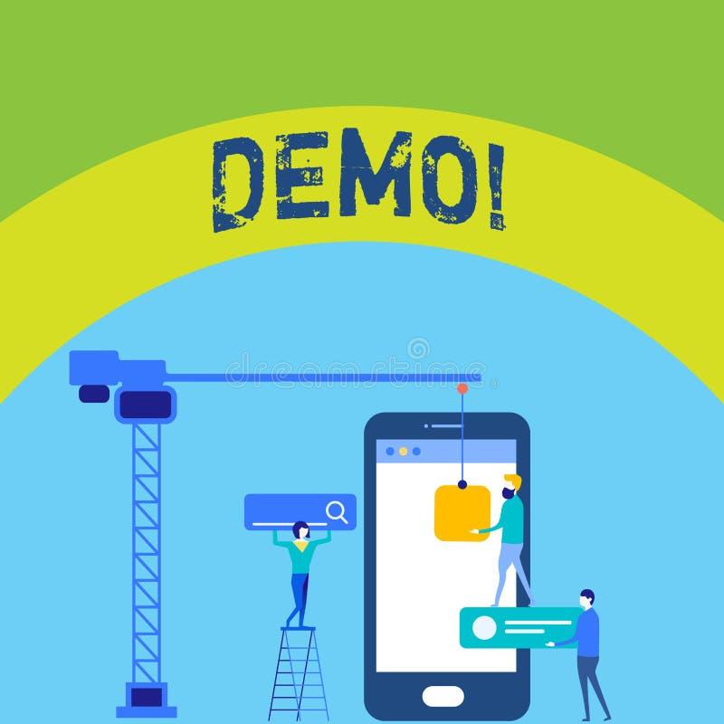 Schreibensanmerkung, die Demo zeigt Geschäftsfoto zur Schau stellende Probe-Beta Version Free Test Sample-Vorschau von etwas Prot vektor abbildung