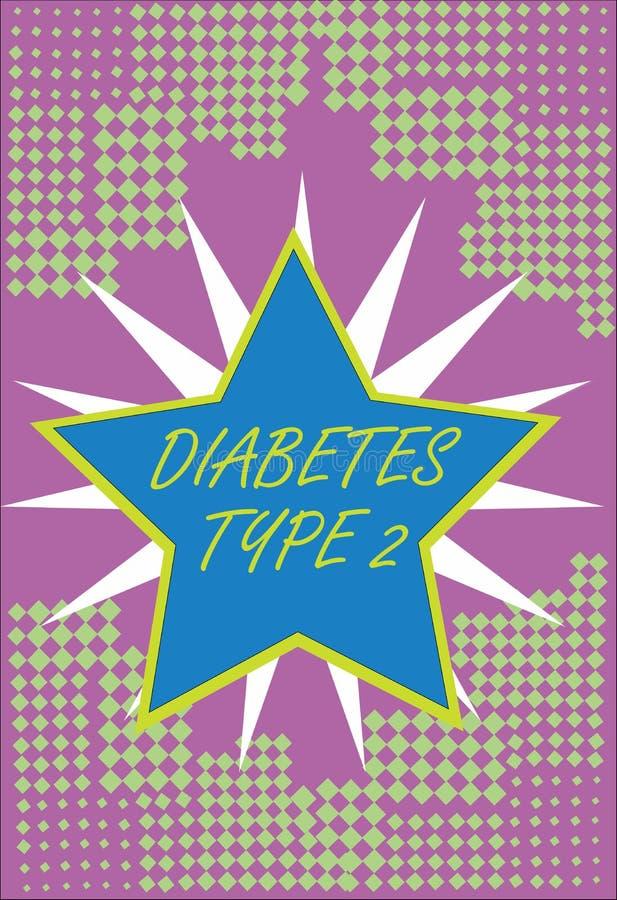 Schreibensanmerkung, die Diabetes-Art - 2 zeigt Präsentationszustand des Geschäftsfotos, der Körper nicht Insulin richtig benutzt vektor abbildung