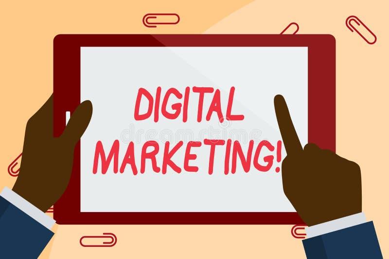 Schreibensanmerkung, die Digital-Marketing zeigt MARKTprodukte oder -services des Gesch?ftsfotos Pr?sentationsunter verwendung de stock abbildung