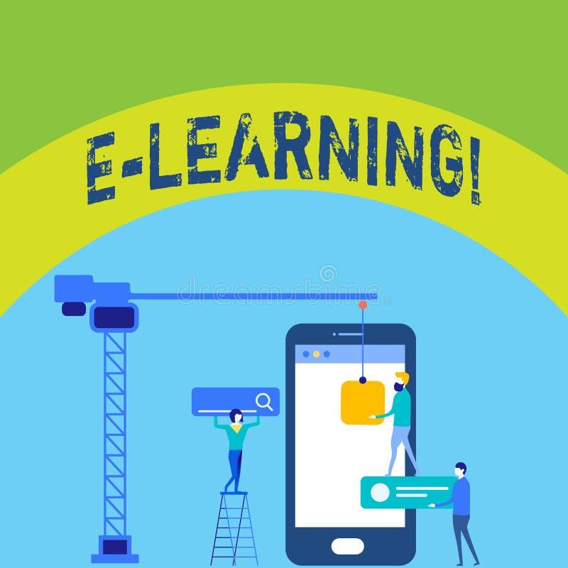 Schreibensanmerkung, die e-Lernen zeigt Geschäftsfoto Präsentationsausbildung durch die Internet entfernten Schulungsnetz-Kurse lizenzfreie abbildung