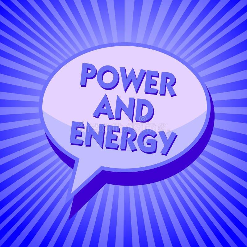 Schreibensanmerkung, die Energie und Energie zeigt Geschäftsfoto Präsentationselektrische Verteilungs-Industrie stroms funkelndes lizenzfreie abbildung