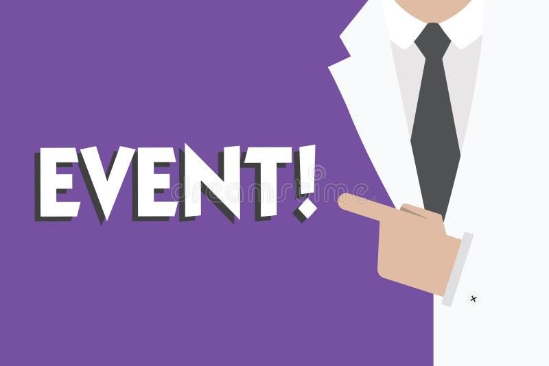 Schreibensanmerkung, die Ereignis zeigt Präsentationssache des Geschäftsfotos, die eine besonders von Bedeutung geschieht oder st stock abbildung