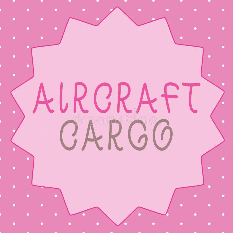 Schreibensanmerkung, die Flugzeug-Fracht zeigt Geschäftsfoto Präsentationstransportunternehmen-Luftpost-Transportwaren durch Flug lizenzfreie abbildung