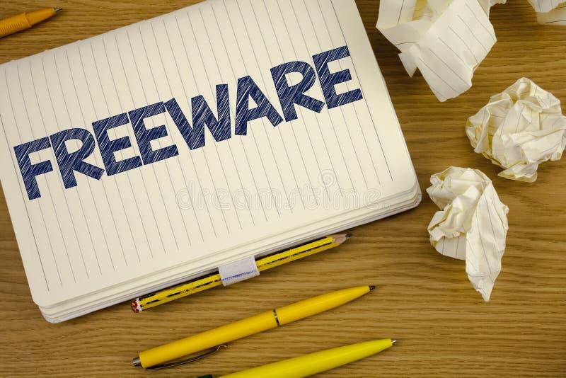Schreibensanmerkung, die Freeware zeigt Geschäftsfoto Präsentationssoftware-Anwendung, die für Gebrauch zu keinen Währungskosten  stockbilder