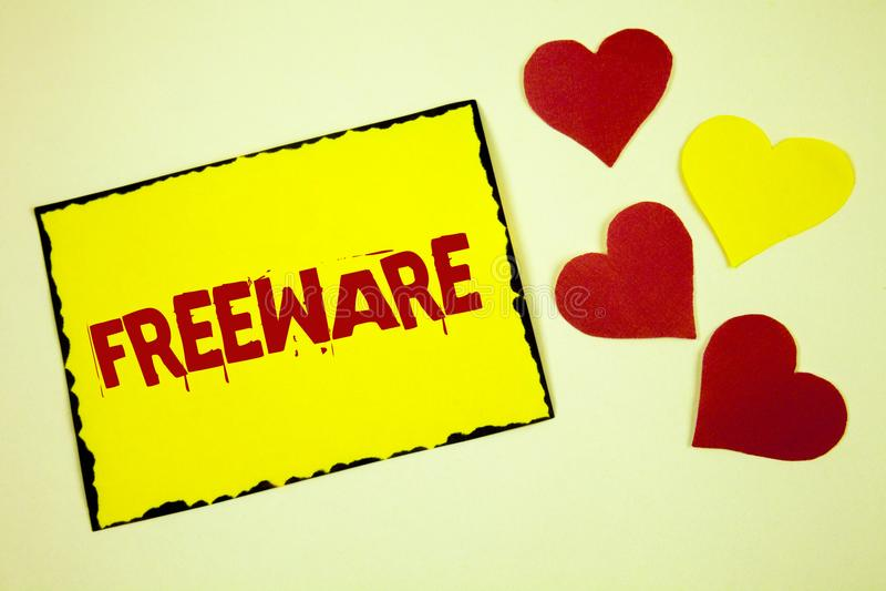 Schreibensanmerkung, die Freeware zeigt Geschäftsfoto Präsentationssoftware-Anwendung, die für Gebrauch zu keinen Währungskosten  lizenzfreies stockfoto