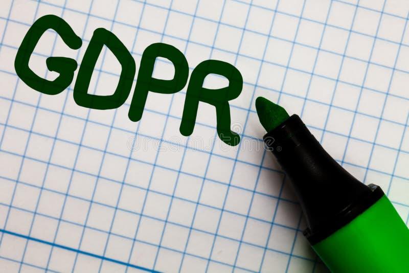 Schreibensanmerkung, die GDPR zeigt Geschäftsfoto, das Privatleben-Eu-Gesetzesbefolgung Zeichenpapier mit Maßeinteilung Mrz des a stockfoto