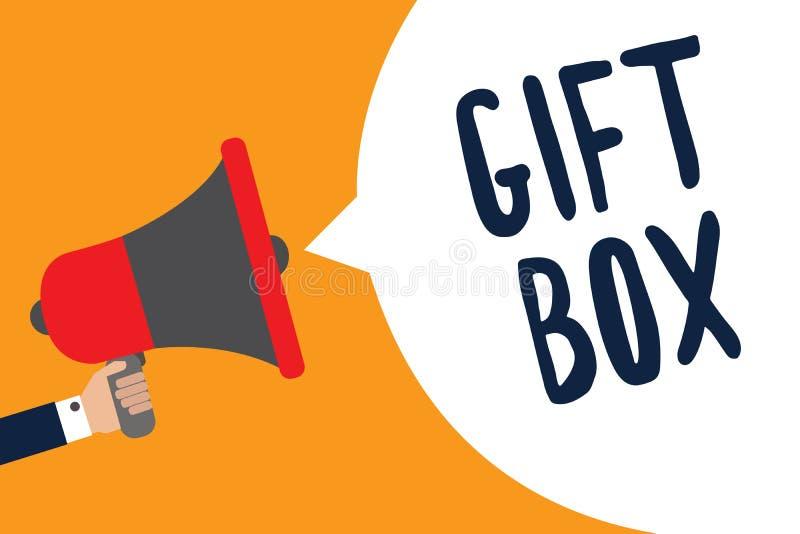 Schreibensanmerkung, die Geschenkbox zeigt Das Geschäftsfoto, das kleines cointainer A mit den Designen fähig sind zur Behandlung stock abbildung